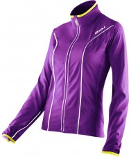 2XU WR2161A-PLQ-EYW-XS Ladies elite verniz roxo e excel jaqueta de corrida amarela - tamanho xs