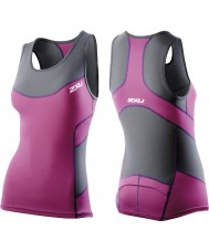 2XU WT2321A-CHR-UVT-XS Ladies carvão e ultra violeta compressão singlet tri - tamanho xs