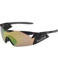 Bolle 6th Sense s brilhantes modulador óculos de sol pretos esmeralda marrom