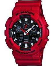 Casio GA-100B-4AER Mens g-shock tempo do mundo resina vermelha relógio de pulseira