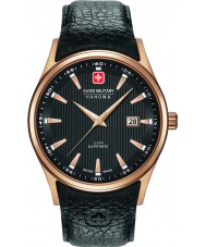 Swiss Military 6-4286-09-007 Mens navalus couro preto relógio pulseira
