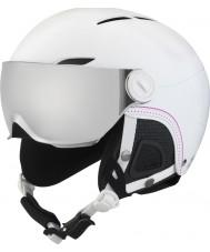 Bolle 31159 Juliet viseira macio capacete de esqui branco com pistola de prata e viseira de limão - 52-54cm